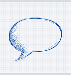 speech bubble chat blue symbol on lined paper vector image