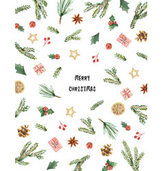 watercolor christmas card with fir branches vector image vector image