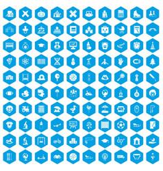100 kids icons set blue vector