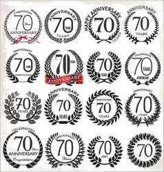 70 years anniversary laurel wreaths vector image