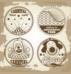 amusement park circus carnival emblems on vintage vector image