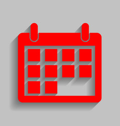 calendar sign red icon with vector image vector image