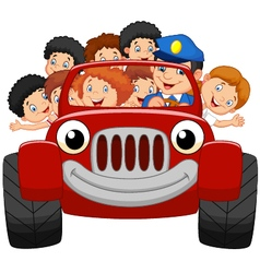 Cartoon little kid happy with red car vector image vector image