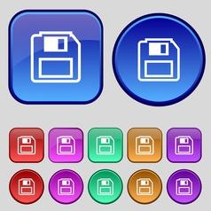 floppy disk icon sign A set of twelve vintage vector image