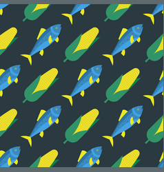 funny fish seamless pattern sea food marine life vector image vector image