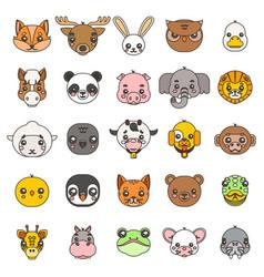 Line art animals cute baby cartoon cubs flat vector