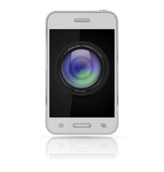 Mobile phone with camera lens icon on screen vector