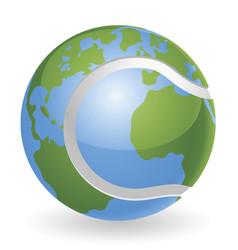 world globe tennis ball concept vector image vector image