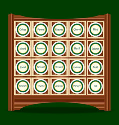 20 herbs in a rack vector image