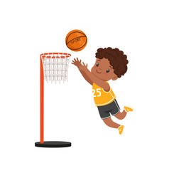 African american boy throwing ball into basket vector