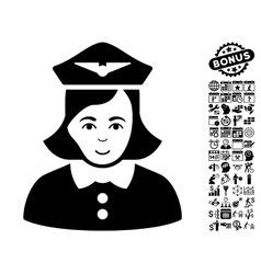 Airline Stewardess Flat Icon With Bonus vector