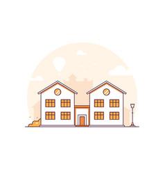 Apartment house - modern thin line design style vector