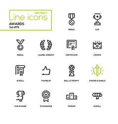 awards - line design icons set vector image