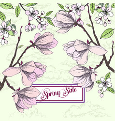 Background with magnolia and cherry blossom tree vector