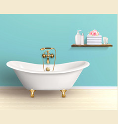 Bathroom interior colored poster vector