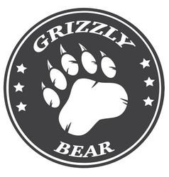 Bear paw print circle logo design vector