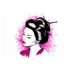 beautiful japanese geisha holds red fan vector image
