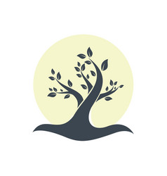 beautiful silhouette tree logo with circle vector image