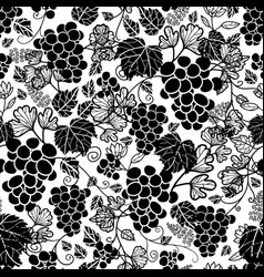 Black and white grapevines fruit repeat vector