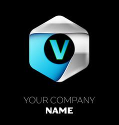 blue letter v logo in the silver-blue hexagonal vector image