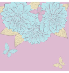 Border flowers dahlias with leaves and butterfly vector