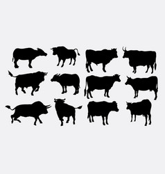 bull and buffalo animal silhouette vector image