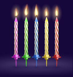 Burned birthday party and xmas candles isolated vector