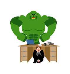 businessman scared under table of green monster vector image