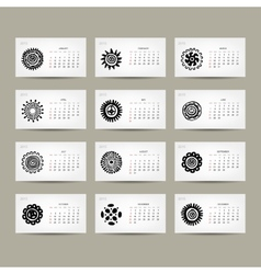 Calendar grid 2015 for your design ethnic ornament vector image