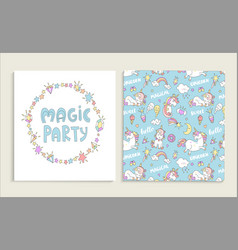 card for magic party with unicorns vector image