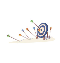 cartoon arrows missed hitting target mark isolated vector image
