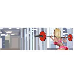 Cartoon fitness girl doing barbell exercise vector