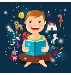 Cartoon kid reading fairy tale book vector