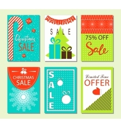 Christmas sale and discount templates Set of vector image