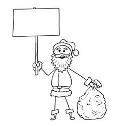 Christmas santa claus with bag of gifts and empty vector