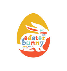 colorful easter bunny lettering vector image