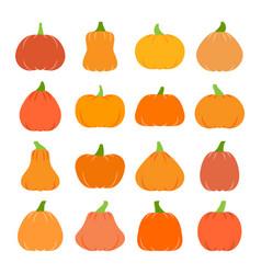 colorful flat halloween pumpkin icon set vector image
