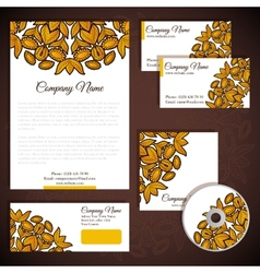 Corporate identity with floral gold ornament vector