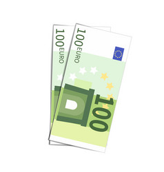 Couple of simple one hundred euro banknotes on vector