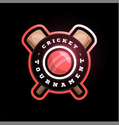 Cricket circle logo with cross bat modern vector