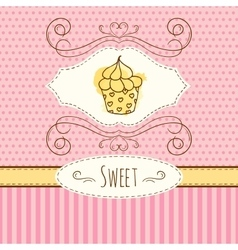 Cupcake hand drawn card vector
