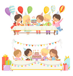 Cute boys and girls sitting at festive table with vector