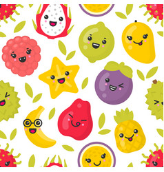 cute smiling exotic fruits seamless vector image