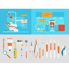 Dental office PC big set dentists instruments vector