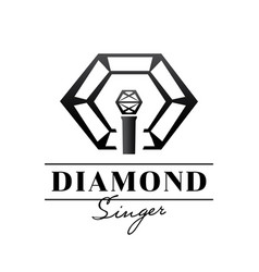 Diamond singer badge design with microphone vector