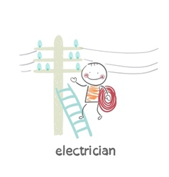 Electrician costs on a ladder and check the wires vector