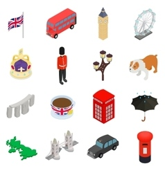England icons set isometric 3d style vector