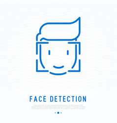 Face detection thin line icon vector