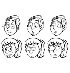 Facial expressions on men and women vector