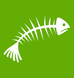 fish bones icon green vector image